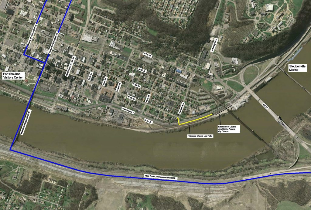 Aerial picture of the Steubenville Marina's shared use path.