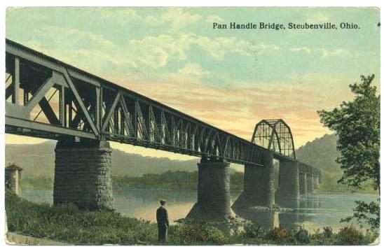 Historic image of the Pan Handle Bridge in Steubenville