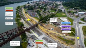 Veterans Memorial Bridge access points.